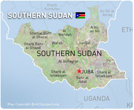 find click with southern sudan address map on