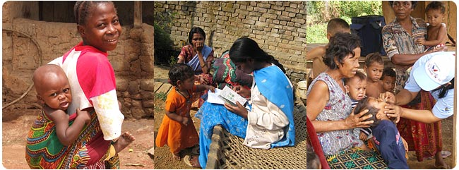 Tanzanian woman and child, Indian woman with reading materials and child, Cambodian children receiving supplments
